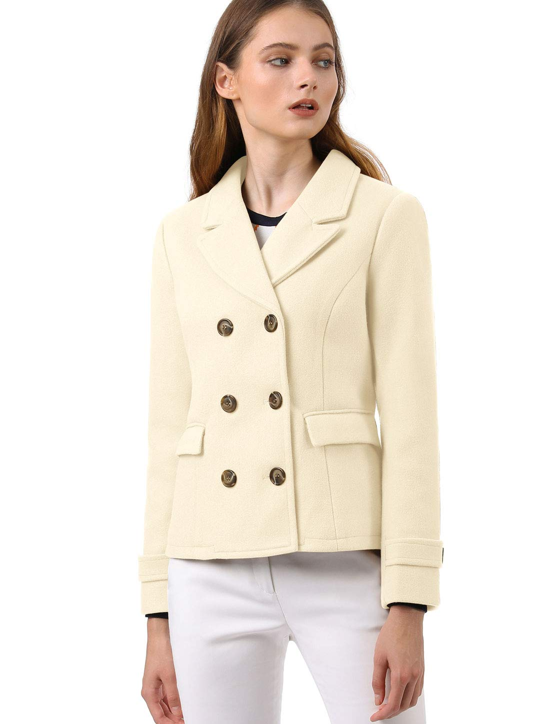 Allegra K Women's Notched Lapel Double Breasted Pea Coat