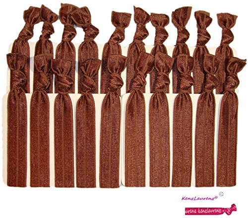 Hair Ties - No Crease Ponytail Holders BROWN (Available in Lots of Pack Quantities) Ouchless Elastic Styling Accessories Pony Tail Holder Ribbon Bands - By Kenz Laurenz (20 Pack)