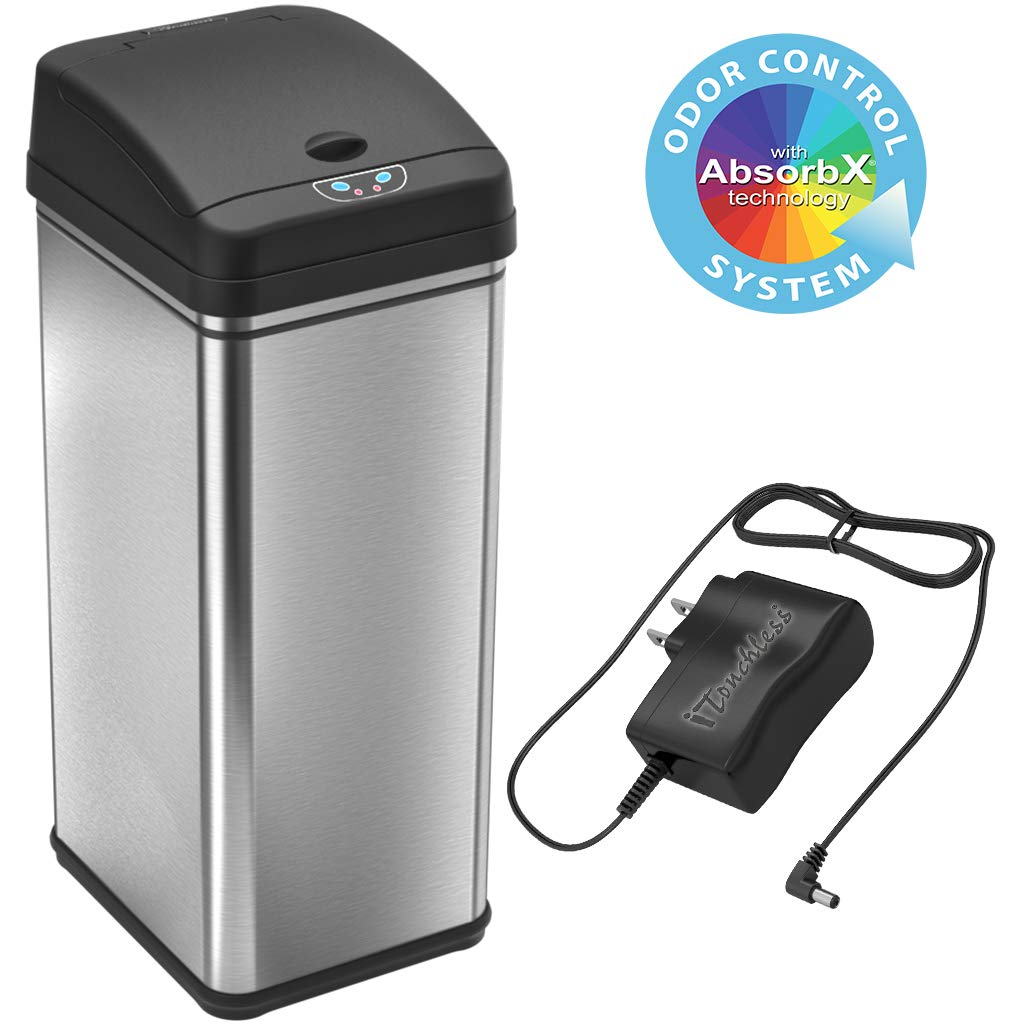 iTouchless 13 Gallon Sensor Trash Can with AC Adapter, Battery-Free Stainless Steel Automatic Bin with Odor Filter, Great for Kitchen and Office by iTouchless