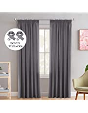 H.Versailtex Solid Thermal Insulated Blackout Curtains for Bedroom/Kitchen/Living Room, Multiple Size and Colour