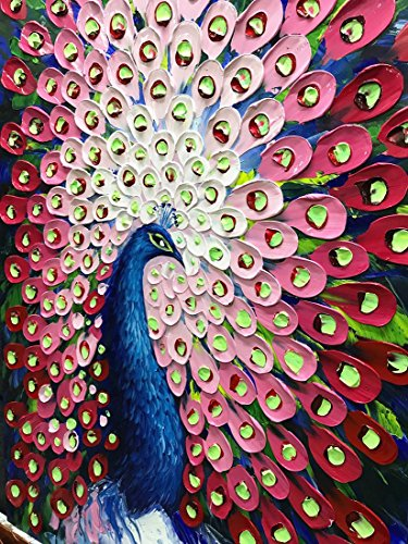 V-inspire Paintings, 24x48 Inch Modern Abstract Painting Red Peacock in Plume Oil Hand Painting 3D Hand-Painted On Canvas Abstract Artwork Art Wood Inside Framed Hanging Wall Decoration For Living Roo by V-inspire (Image #1)