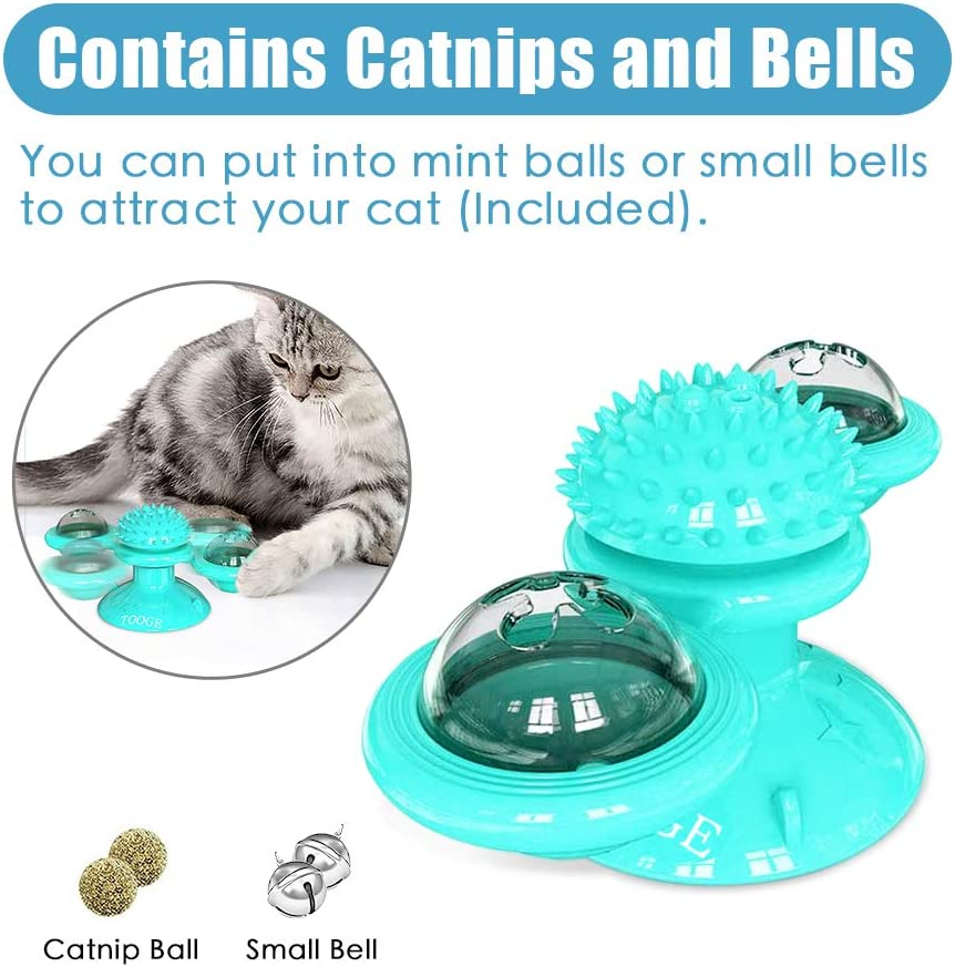 TOOGE Windmill Cat Toy Turntable Teasing Interactive Cat Toys for Indoor Cats with Suction Cup Scratching Tickle Cats Hair Brush Funny Kitten Toys with Catnip and Bells