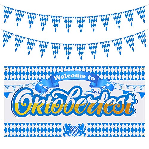 Oktoberfest Decorations Cheap (Aneco Oktoberfest Decoration Oktoberfest Background Welcome Banner Oktoberfest Backdrop with 32.8 Feet Oktoberfest Bavarian Pennant Banner for German Theme Party Beer)