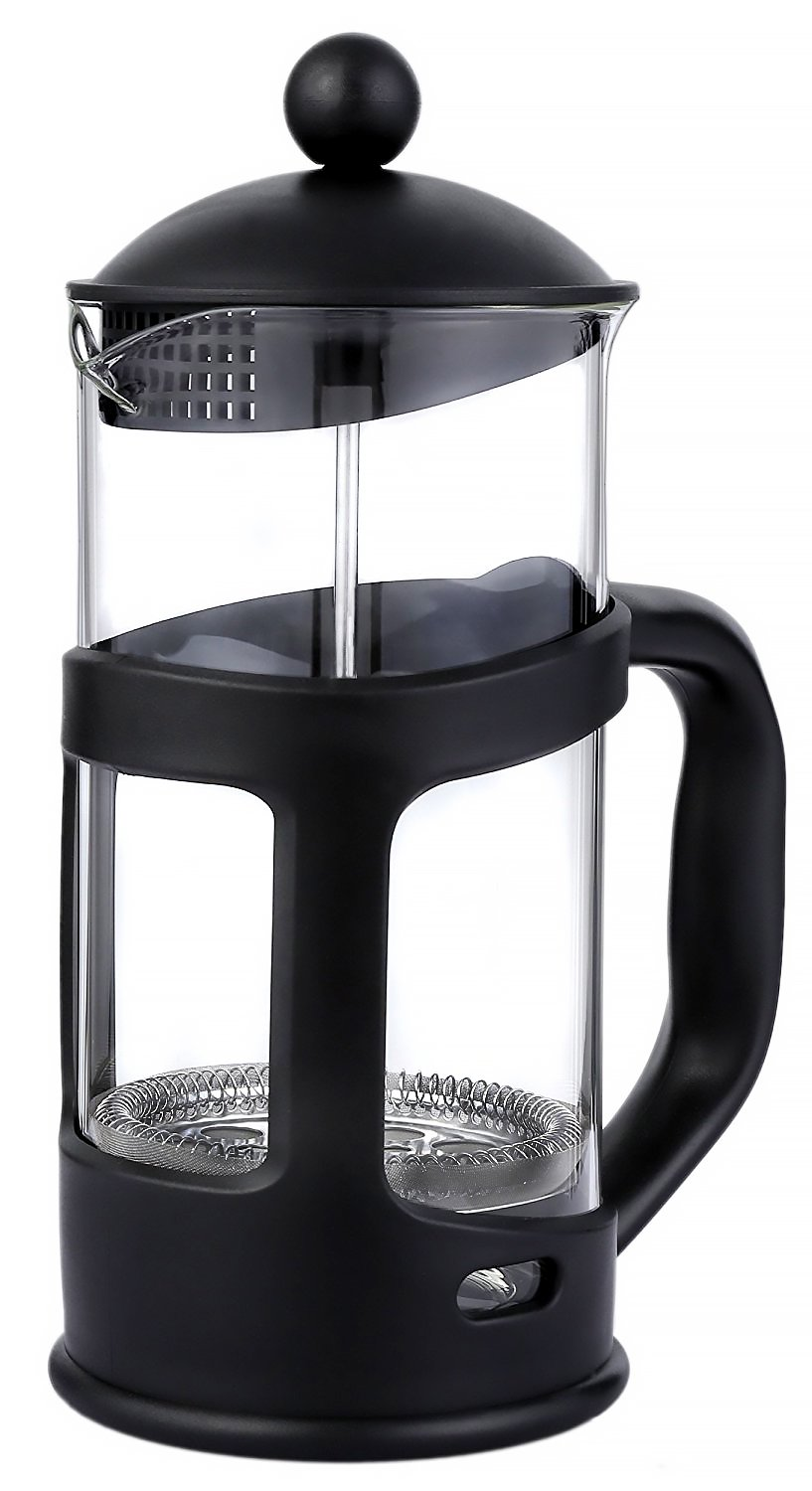 French Press Coffee Maker with Glass Carafe – Tea Maker for Home, Kitchen and Office - Heat Resistant Borosilicate Glass - 1 Liter/34 oz./8 Cup, 4 x 7 x 10 Inches
