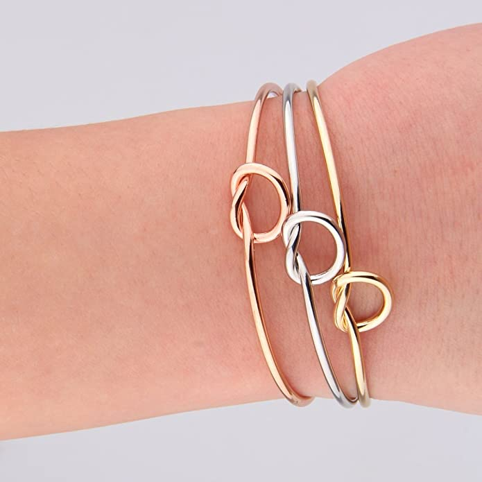 ZuoBao Simple Love Knot Bracelet Tie The Knot Cuff Bangle Wedding Gift Rose Gold