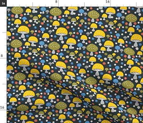 (Spoonflower Mushroom Fabric - Mushroom Retro Blue Green Yellow Vintage Mushroom Retro 70S Vintage Funky by Morecandyshop Printed on Cotton Spandex Jersey Fabric by The Yard)