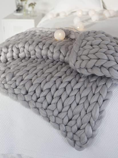 9e2f5f082c911b Image Unavailable. Image not available for. Color  clootess Chunky Knit  Blanket Merino Wool ...