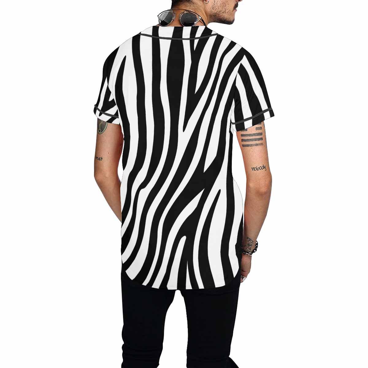 INTERESTPRINT Mens Button Down Baseball Jersey Zebra Stripes Pattern