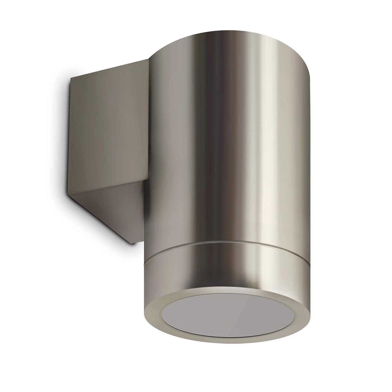 LED Wandleuchte Wandlampe Außenleuchte Up/Down 1-Flammig Edelstahl Form:F IP44 GU10-230V Inkl. LED-Leuchtmittel (DIMMBAR/Warmweiß) [Energieklasse A+]