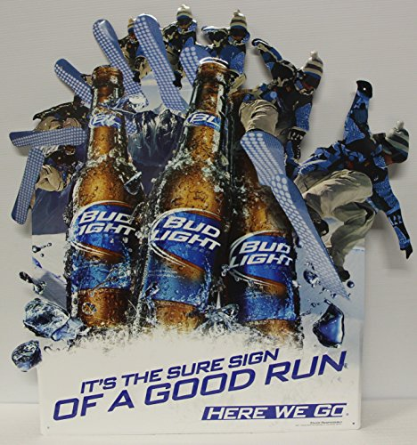Budweiser Draft Beer - Bud Light Beer Metal Sign embossed die cut snow boarders promo ad sign from 2011