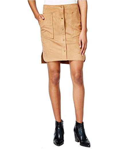 fef0885cac Bar III Faux Suede Caramel Skirt Size XS at Amazon Women's Clothing store:
