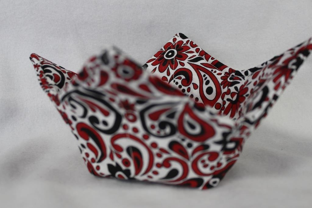 Microwave Bowl Cozy Bowl Potholder Reversible Red Black Paisley Floral