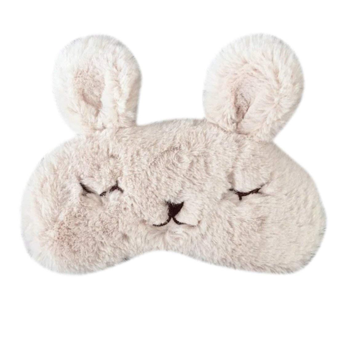 Encantador Conejo Lindo Diseño Respirable Máscara de Ojo para Dormir Suave Acolchado Dormir Viajar Cubrir la Cubierta Descanso Relajarse Dormir con los Ojos vendados - Caqui VIGE