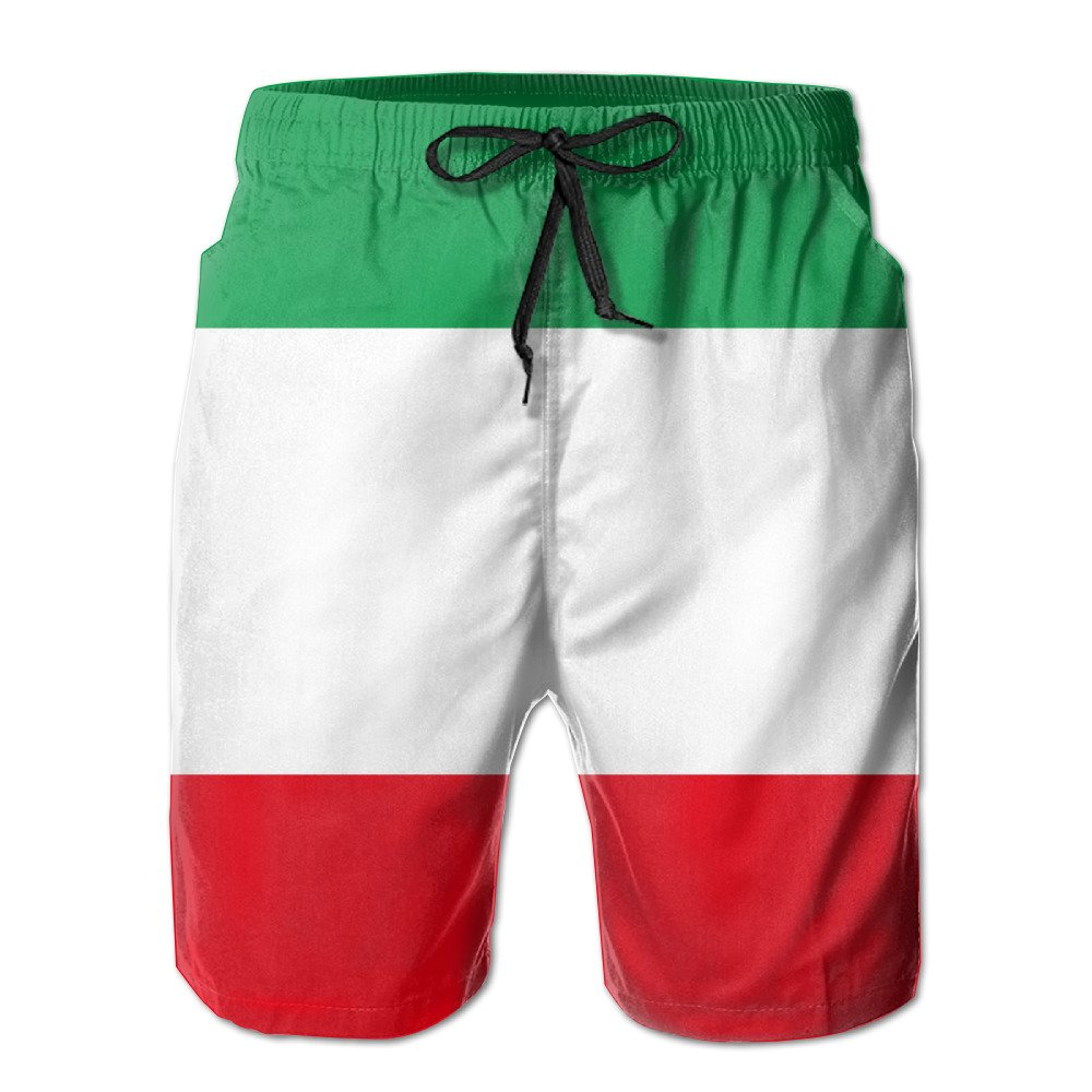 MAMAC New Men's Italia Italy Italian Flag Leisure Ultra-light Sandy Beach Pants Board Shorts With Telescopic Tape