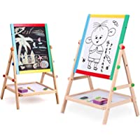 R H lifestyle 2 in 1 Magnetic Black and White Wooden Educational Double Sided Folding Drawing & Writing Board for Kids Easel with Marker Chalk and Duster (Revolving Fluctuation Drawing Broad)