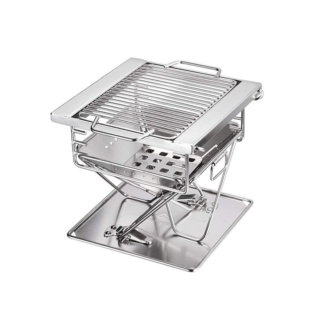 BHH-BBQ Stainless Steel Outdoor Grill Charcoal Portable Folding  Multi-Tools Family Friends Outdoor Camping Picnic Garden Fishing Garden by BHH-BBQ (Image #4)