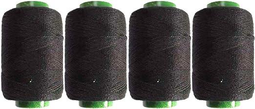 SUPVOX Hilo de poliéster negro Hilos de coser a mano Material a medida para acolchar Tapicería Rebordear 300m 4 rollos (Negro): Amazon.es: Hogar