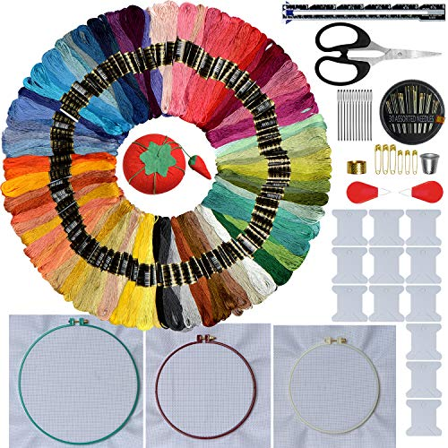 Embroidery Starter Kit Including-3 Pieces Embroidery Hoops-100 Color Cotton Threads-3 Pieces emnroidery Cloth and Free Cross Stitch Tool Kit for Beginners