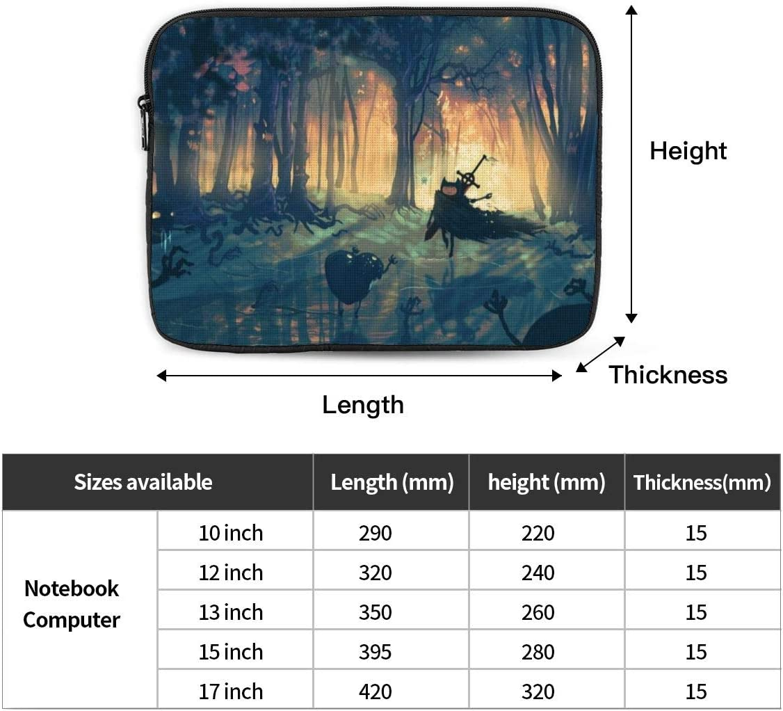 Cartoons Adventure Time Laptop Sleeve Case Classic Notebook Computer Bag Slim Tablet Briefcase Business Travel Outdoor Black 13 inch