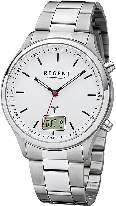 Regent – Reloj de pulsera hombre radio reloj de acero inoxidable analógico digital cuarzo correa de acero plata BA de 448