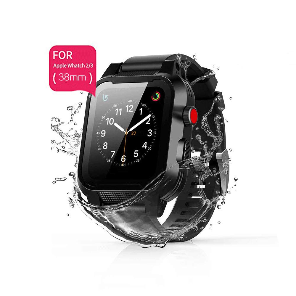 Waterproof Case for iWatch 38mm Series 2 & 3 with Premium Soft Silicone Apple Watch Band, Shock Proof Impact Resistant [Rugged iWatch Protective case] (Waterproof Case for Apple Watch 38mm)