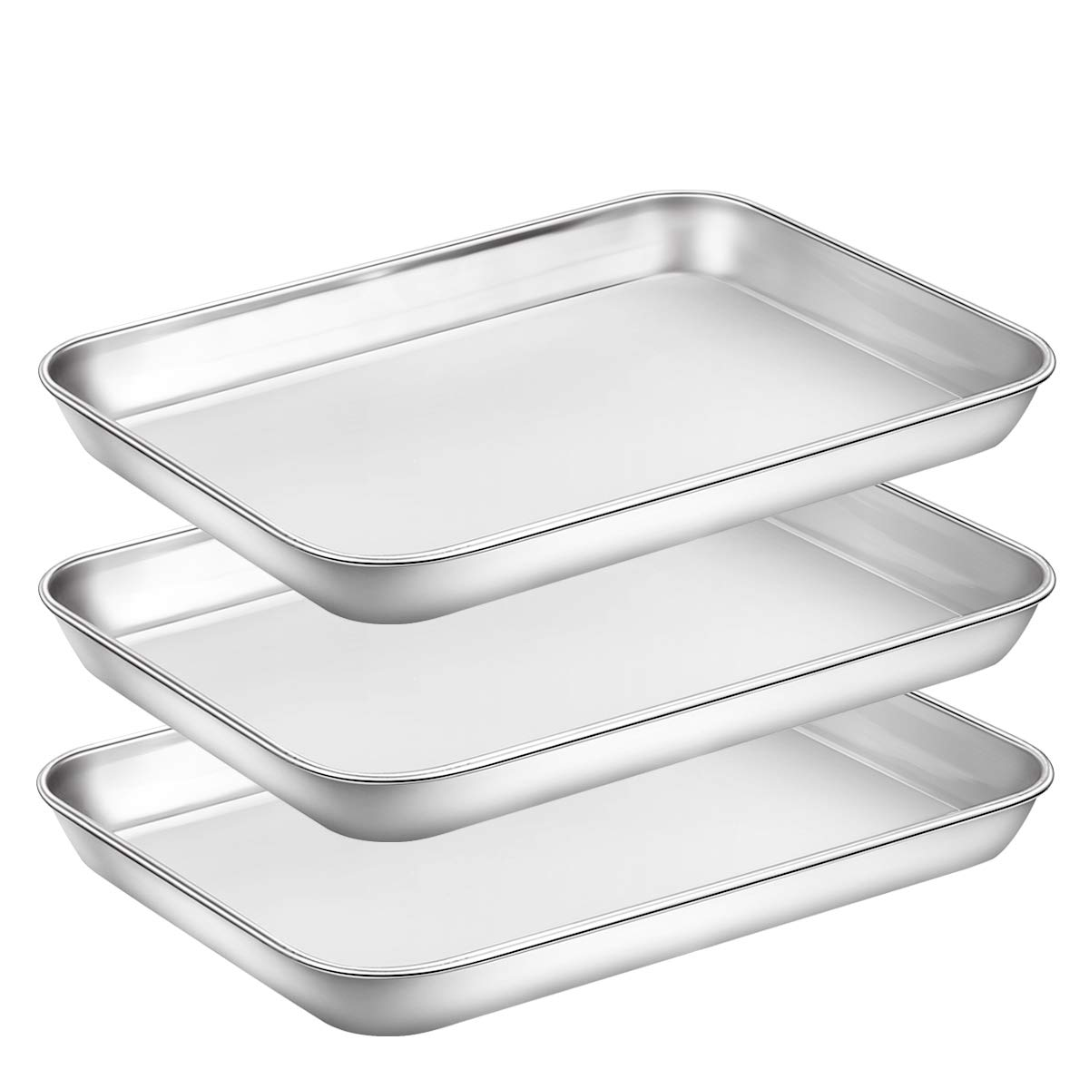 Baking Sheet Pan for Toaster Oven, Stainless Steel Baking Pans Small Metal Cookie Sheets by Umite Chef, Superior Mirror Finish Easy Clean, Dishwasher Safe, 9 x 7 x 1 inch, 3 Piece/set … by Umite Chef