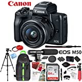Canon EOS M50 Mirrorless Camera Body with 4K Video (Black) Deluxe 64GB Triple Battery Bundle with Shotgun Mic, Backpack, Tripod and More (EF-M 15-45mm Lens Kit (Black))
