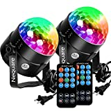 #6: [2-PACK]Nequare Party Lights Sound Activated Disco Ball Strobe Light 7 Lighting Color Disco Lights with Remote Control for Bar Club Party DJ Karaoke Wedding Show and Outdoor
