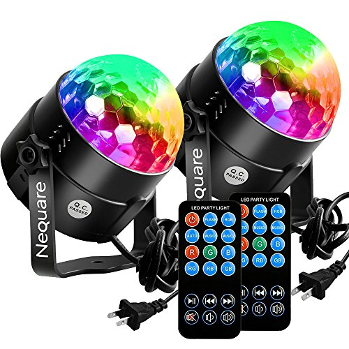 [2-PACK]Nequare Party Lights Sound Activated Disco Ball Strobe Light 7 Lighting Color Disco Lights with Remote Control for Bar Club Party DJ Karaoke Wedding Show and Outdoor (Dj Bar Light)