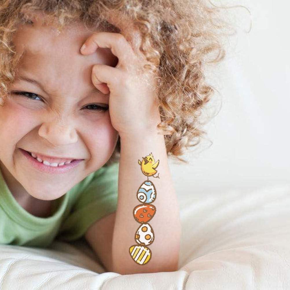 Fried Tr/ès s/ûr 12 Feuilles de P/âques Autocollant de Tatouage Autocollants Tattoo Waterproof Cartoon Transfert Enfants Tatouages Non Toxique