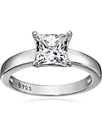 Platinum-plated Sterling Silver Princess-Cut Solitaire Ring made with Swarovski Zirconia (1 cttw), Size 5