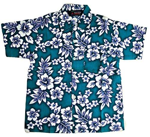 Boys Hibiscus Button Down Hawaiian Shirt (6, Green) by Blue Hawaii