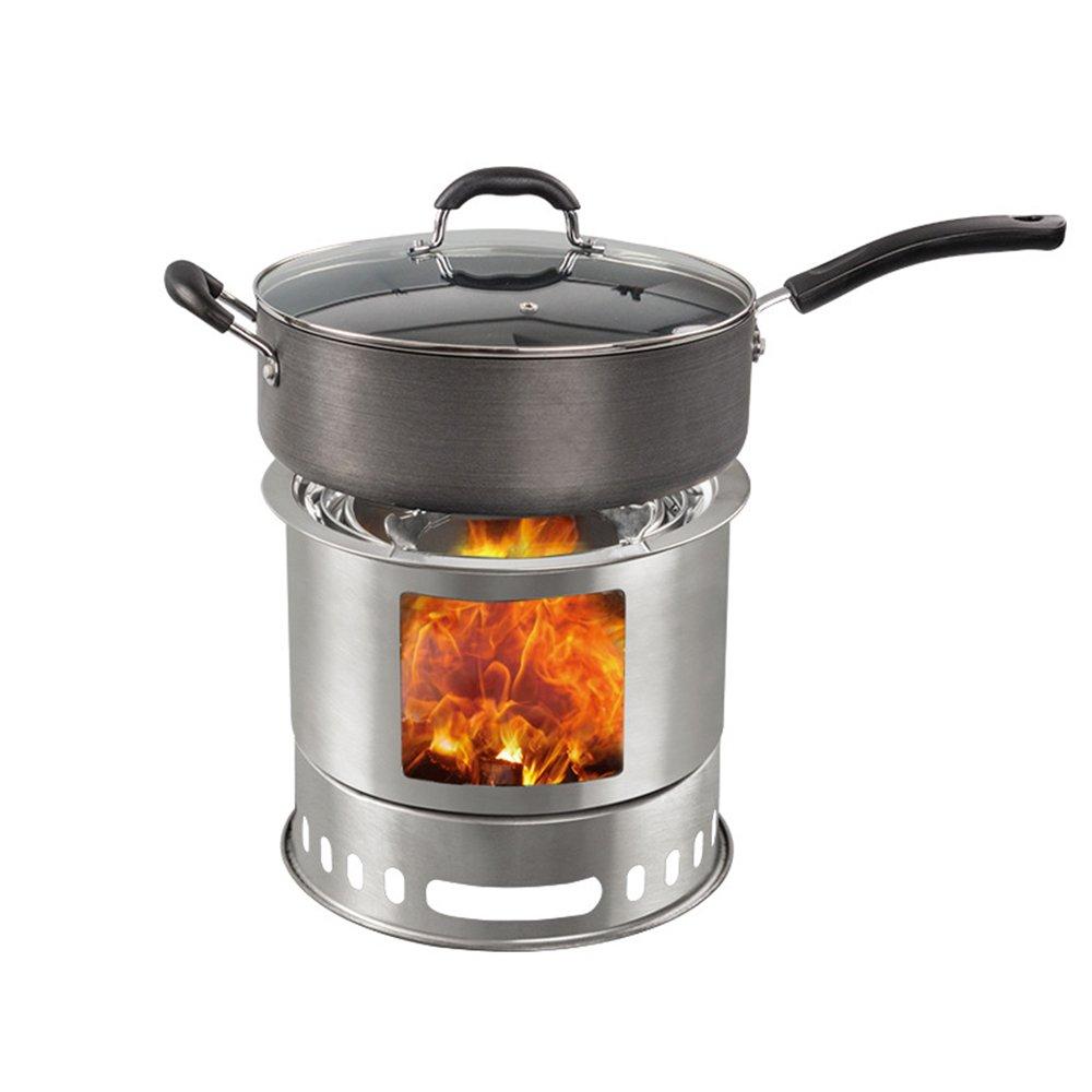 TOPQSC BBQ Edelstahl-Ofen Verzinkt, 4 + Person Kompakte abnehmbare Holzofen Camping für Camping, Survival Burns Twigs - keine Batterien oder Flüssiggas-Kanister erforderlich leicht zu tragen