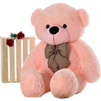 Webby 3 Feet Huggable Teddy Bear with Neck Bow (Pink)