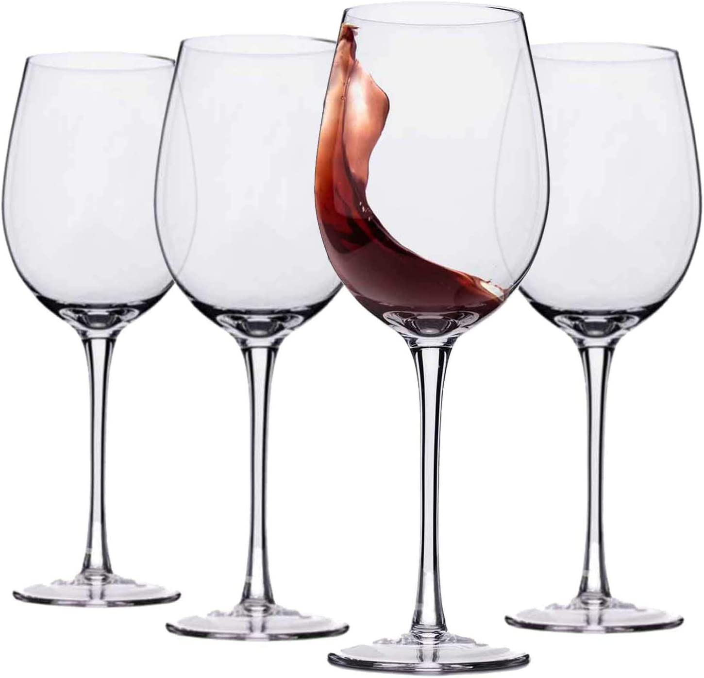 Hand Blown Italian Style Crystal Red or White Wine Glasses - Lead-Free Premium Crystal Clear Glass - Set of 4 - 18 Ounce - Safer Packaging for Any Occasion