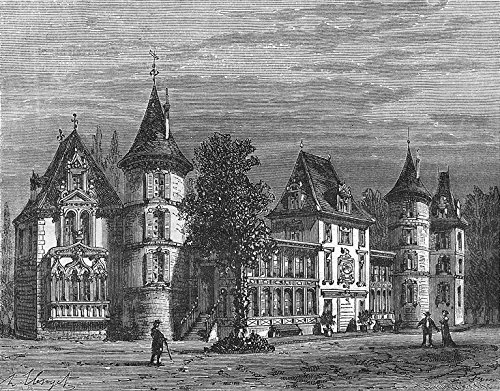 BELLEVUE. Ardennes. Chateau, pres Sedan - 1881 - old print - antique print - vintage print - Hauts-de-Seine art ()