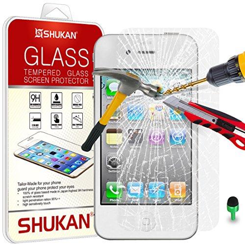 Apple iPhone 4/4S–Shukan® Premium vetro temperato trasparente proteggi schermo LCD & panno verde polvere stopper [tg-a1]