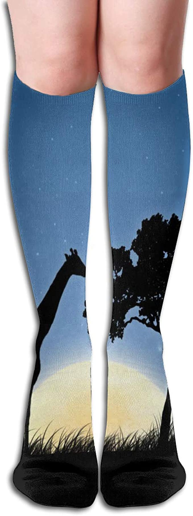 Women Socks Over Knee Giraffe Night Winter Amazing For Holiday