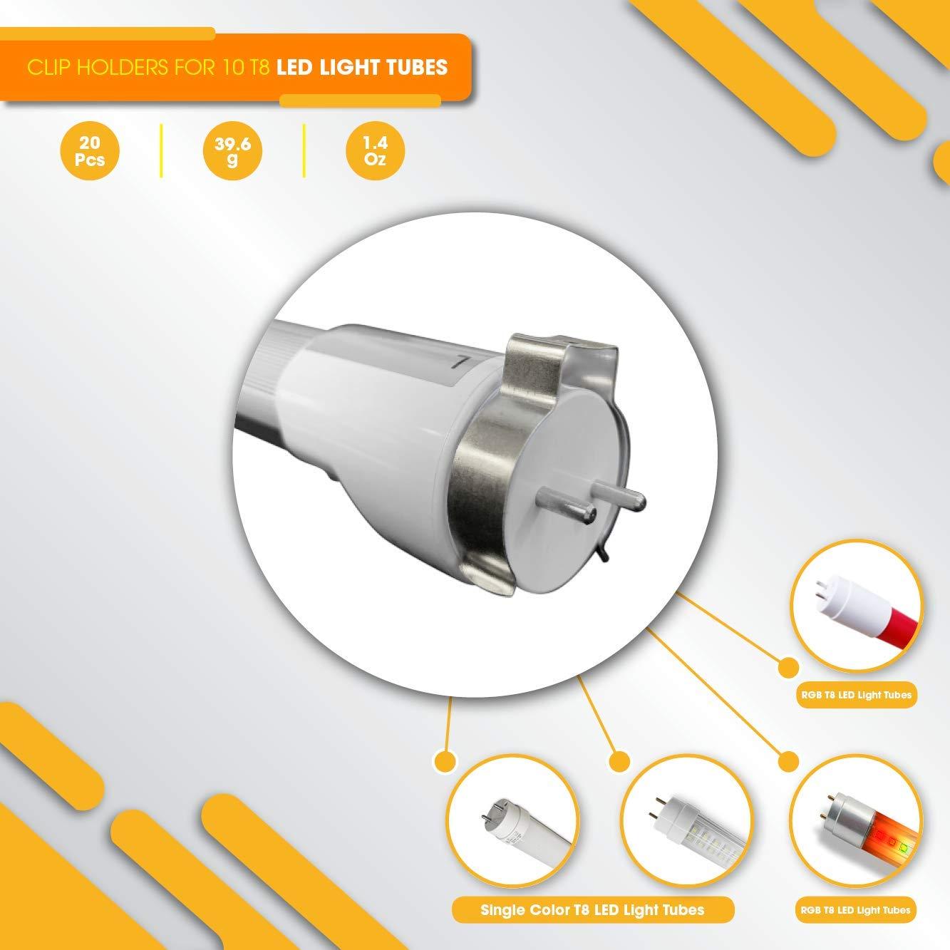 Soporte para T8 LED tubo de luz - 20 Soporte de montaje para colgar 10 tubos - Techo Pared: Amazon.es: Iluminación
