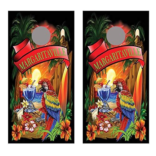 Lets Print Big Margaritaville Black Cornhole Board Decal Wraps ()