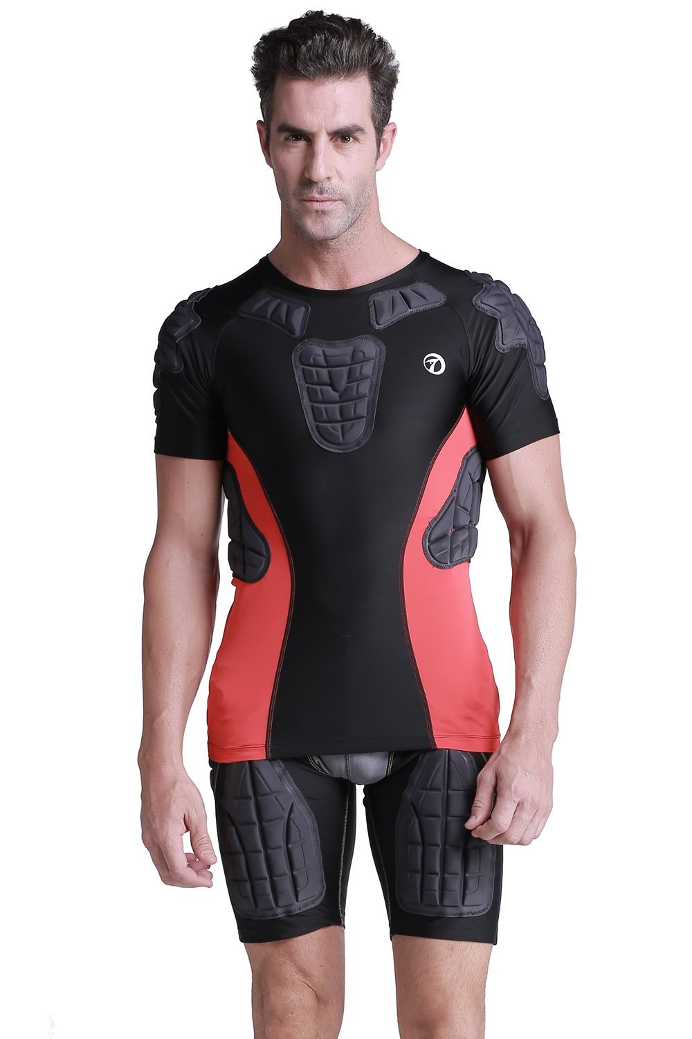 TUOY Men's Padded Compression Shirt Protective T Shirt Rib Chest Protector for Football Paintball Baseball by TUOY