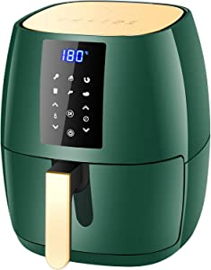 Air Fryer Oven,Air Fryer 360 Better Than Convection Ovens Hot Air Fryer Oven forToaster Oven, Bake, Broil, Slow Cook and More Food Dehydrator, Rotisserie Spit,Ultra Quiet,4.5L,1400W,Green