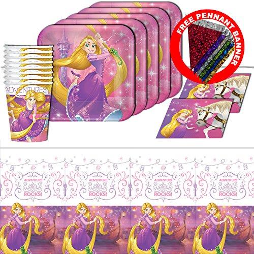 Disney Princess Rapunzel Dream Big Tangled Girl's Birthday Party Tableware Pack Kit For 16
