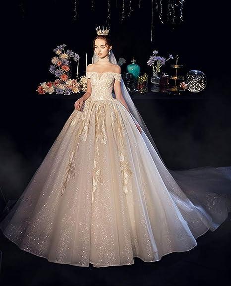 WHL Vestidos de novia Vestido de novia de cola de boda nupcial de ...