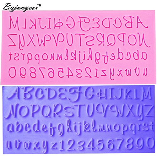 Byjunyeor M420 Fondant Cake Mold Capital Russian Handwriting Alphabets Script Letters&number 0-9 Chocolate Mould -