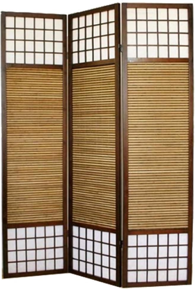 PEGANE Paravent en Bois Brun avec Bambou Sp/écial Taille 2 m de 3 pans