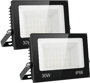 Olafus 2 Pack 30W Focos LED Exterior, IP66 Impermeable 3000LM 6000K Blanco Frío Floodlight LED, Equivalente a 200W Halógeno, Proyector Iluminación de Seguridad, Jardín, Garaje, Fábrica, Terraza: Amazon.es: Iluminación