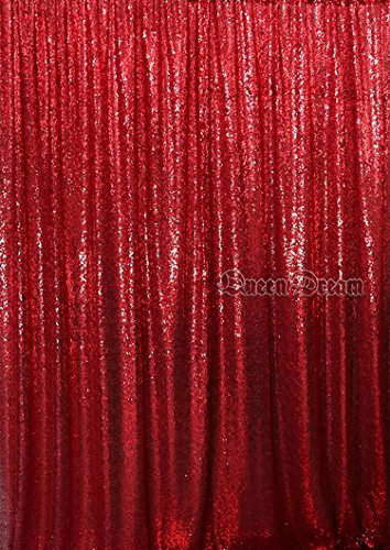 Price comparison product image QueenDream 8ftx8ft Red best photo backdrop Sequin photography backdrop For bridal photo booth party background photography backdrop curtain
