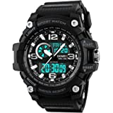 SKMEI Men's Digital Sports Watch, Military Waterproof Watches LED Screen Large Face Stopwatch Alarm Wristwatch