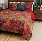 2pc Girls Floral Patchwork Themed Quilt Twin Set, French Country Design, Pretty Abstract Colors, Colored Square Flowers Pattern, Elegant Eyecatching, Traditional